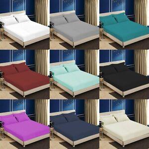 Complet-drap-draps-100-Coton-Egyptien-Simple-Double-Super-King-Size