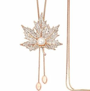 Fashion-Maple-leaves-Women-Statement-Gold-Long-Chain-Pearl-Pendant-Necklace