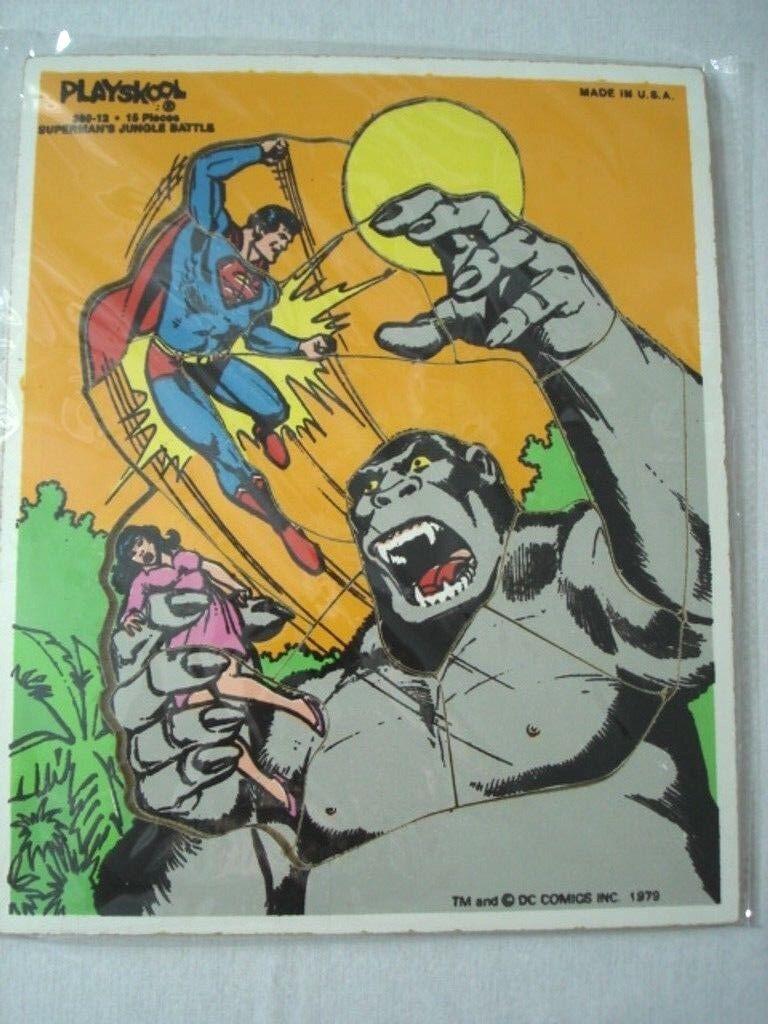 Vintage 1979 Superman's Jungle Battle DC Comics Playskool Puzzle Pc