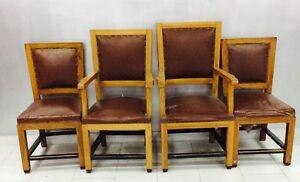 4 Sedia SEDIE legno massello cuoio design anni \'40 epoca VINTAGE ...