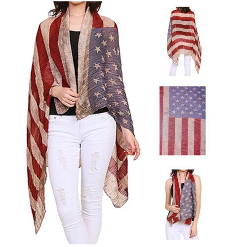 Top Shop World Crinkled Gauze Vintage American Flag Scarf