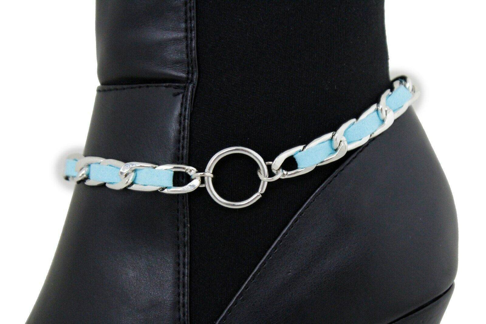 Women Western Boot Silver Metal Chain Ring Shoe Charm Turquoise Blue Color Strap