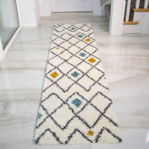 Details About Long Moroccan Cream Geometric Shaggy Runners Non Shed Boho Hallway Runner Rug Uk