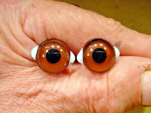 a pair vintage solid Glass Eyes size 18mm teady bear taxidermy age 1910 Art  A10