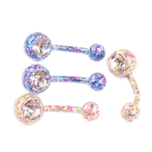 2xBody Piercing Crystal Rhinestone Dangle Button Belly Navel Rings Bars Rßß