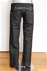 Détails sur jeans noir ciré huilé taille basse demi slim fille KAPORAL 5 angel T 16 ans (38)