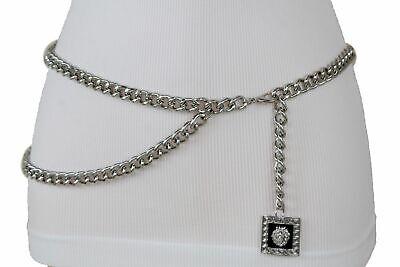 Trendy Women Urban Fashion Weekend Belt Silver Metal Chain Lion Charm Hot XL XXL