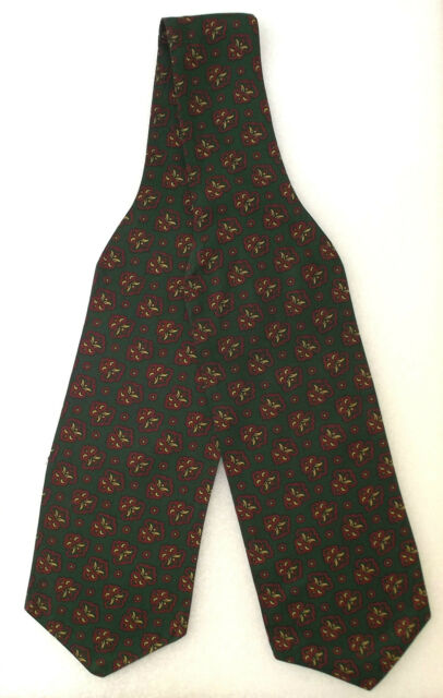 Vintage Tootal day cravat Green pattern 1950s Men's casual Mod hippie rayon