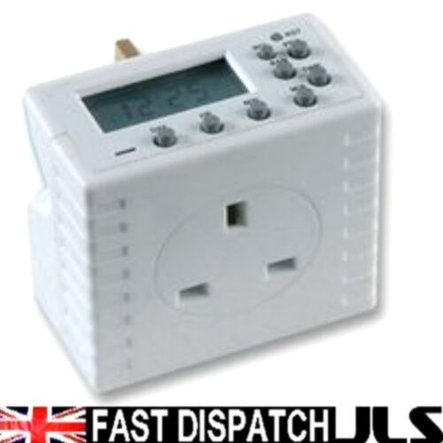 3 x Timers Digital Electronic LCD Socket Mains Plug Daily Weekly Programme 13A