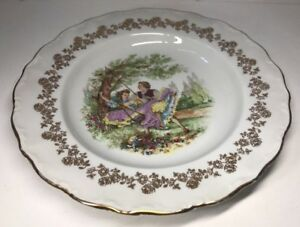 lot2-De-6-Assiettes-Creuses-Fragonard-En-Porcelaine-Digoin-France-D-24-Cm