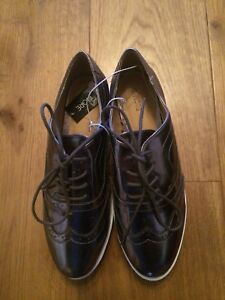 Ladies-Shiny-Metallic-Lace-Up-Brogues-Shoes-Flats-Size-5-BNWT