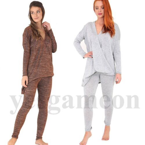Womens Wrap Over Tracksuit Ladies Melange Loungewear Two Piece Suit Set Jogger