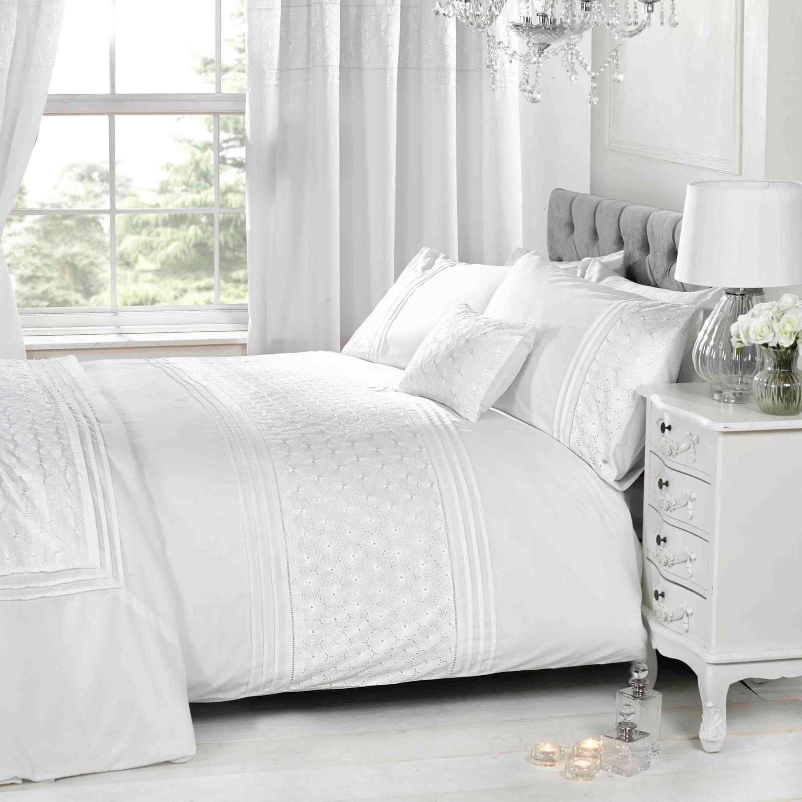 EGrünan Floral Weiß Bettbezug & Kissenbezug Set Elegant - Doppel | Spaß