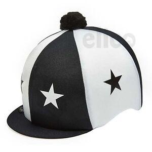 05f0c6e22fe BLACK   WHITE STARS RIDING HAT SILK COVER FOR JOCKEY SKULL CAPS ONE ...