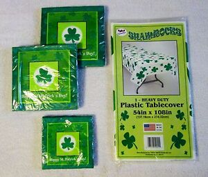 """St. Patrick's Day Heavy Duty Plastic Table Cloth 54"""" x 108"""" w/ Matching Napkins"""
