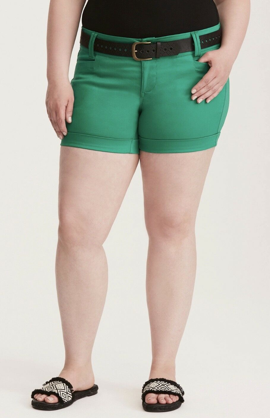 Torrid Plus Size Women's Green Belted Sateen Shorts New With Tags
