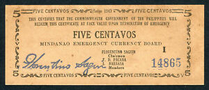 au-unc Symbol Of The Brand Philippines P S481b Ps481b Banknote Note 5 Centavos 1943