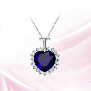 Titanic heart of the ocean sapphire blue cz crystal necklace pendant image is loading titanic heart of the ocean sapphire blue cz aloadofball Image collections