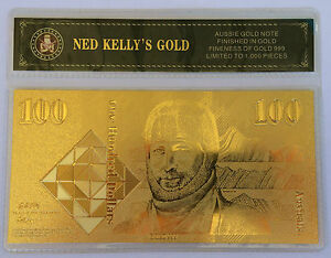NED-KELLY-039-S-GOLD-100-00-OLD-NOTE-24K-999-GOLD-FOIL-BANK-NOTE-C-O-A-PACK