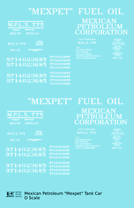 K4-O-Decals-034-Mexpet-034-Mexican-Petroleum-Corp-Tank-Car-White