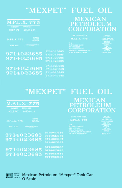 K4 O Decals 'Mexpet' Mexican Petroleum Corp Tank Car White