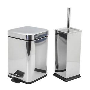Cubo-De-Residuos-Basura-Pedal-Bano-3L-y-bano-titular-de-cepillo-Set-Acero-Cromado