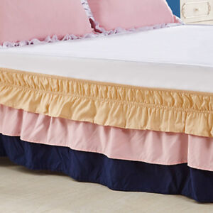 Ruffle-Wrap-Bed-Skirt-with-Elastic-Three-layer-Cake-Bedding-Dress-Color-Cute-New