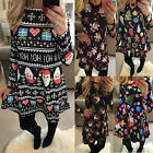 Christmas Women Snowman Cake Reindeer Print Long Sleeve Swing Dress Size 6, 8,10