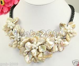 Hand-Weave-Natural-White-Freshwater-Pearl-MOP-Shell-5-Flowers-Bib-Necklace-18-034