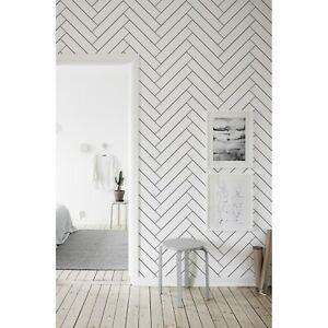 Herringbone Pattern Minimalist Removable Wallpaper Pattern Home Self Adhesive Ebay