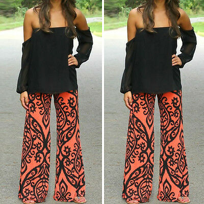 Womens Floral Casual Wide Leg Long Stretch Pants Bohemian Loose Palazzo Trousers