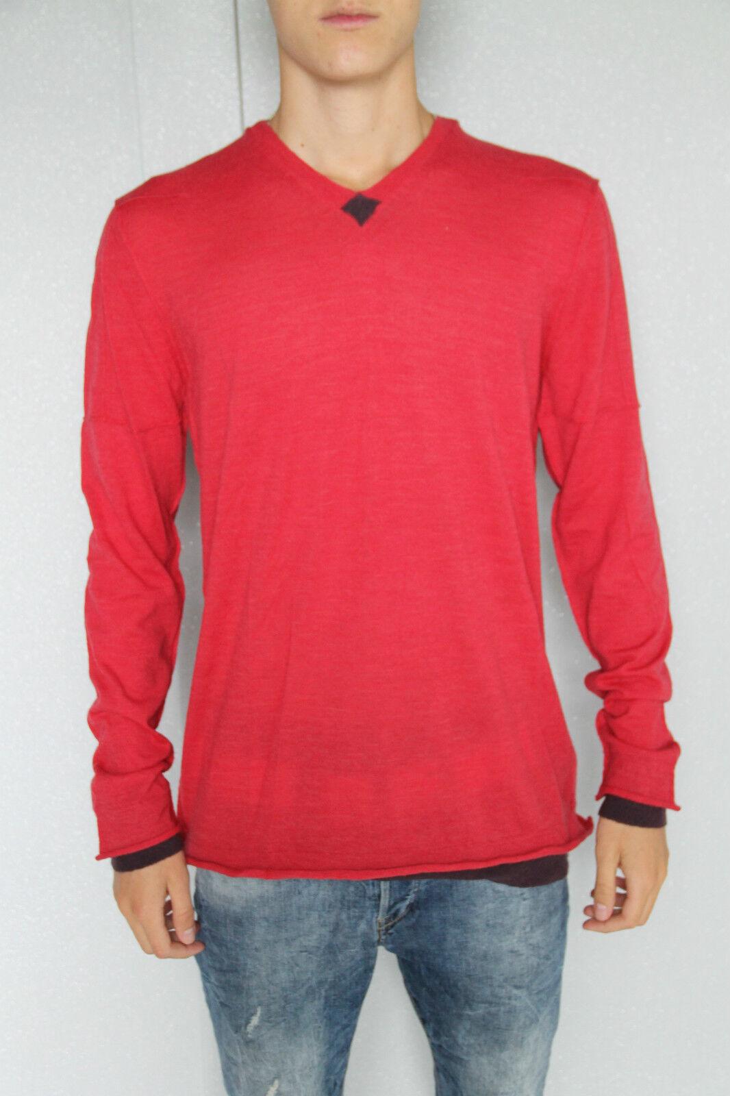 Suéter rojo angora lana de oveja merina extra fina m+F GIRBAUD T. XL /ETIQUETA