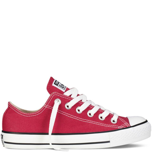 49ca8d8d9492 Converse All Star Lace up SNEAKERS Trainers Red Textile  Canvas ...