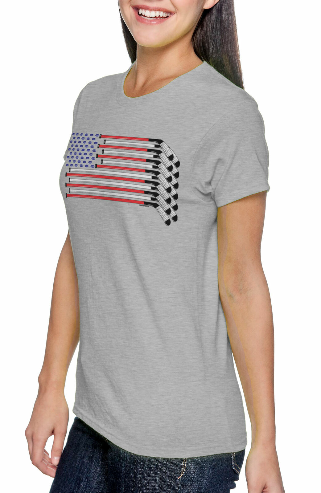 Hockey Stick in American Flag Women T-Shirt Mountaineering Shirts
