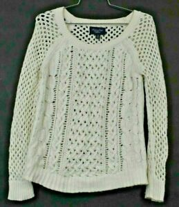 American-Eagle-Women-039-s-XS-White-Open-Knit-Casual-Wool-Blend-Pullover-Sweater