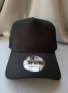 1X - New Era 9Forty Snapback Trucker Hat Cap Blank   BLACK   BLACK ... 54bb93c9db6