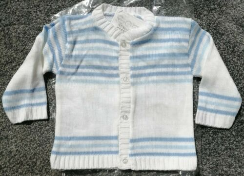 BNWT Nursery Time Baby Boys White /& Blue Cardigan 12-18mths