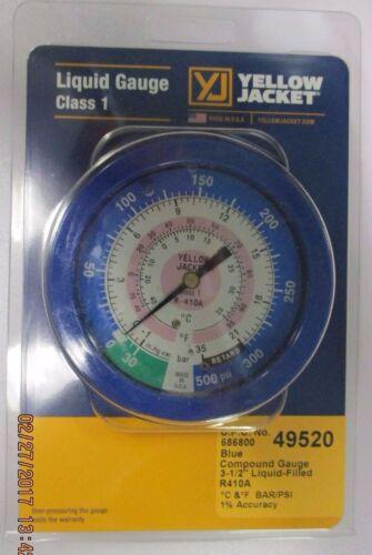 Yellow Jacket 49520 BLUE Pressure Gauge R410A