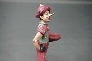 Vintage-Figura-Pinocho-30cm-Borde-Del-Taburete-Figura-de-Decoracion