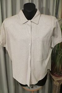 VINTAGE-80-039-s-White-LEATHER-BLOUSE-TOP-Size-M