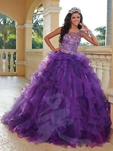 NWT-Quinceanera-Collection-26764-purple-Size-10-jeweled-corset-ball-gown