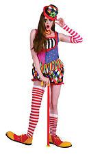 Ladies Clown Fancy Dress Costume Multi-colour Halloween Outift & Hat UK 10-14