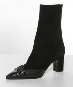 OLIVIER-THEYSKENS-Pointed-Toe-Mid-Calf-Black-Suede-High-Heel-Boots10-40
