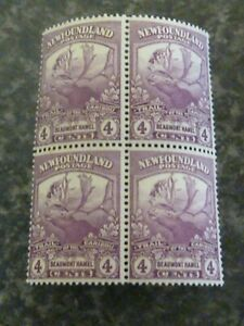NEWFOUNDLAND POSTAGE STAMPS SG133 FIVE CENTS BLOCK OF 4 LIGHTLY MOUNTED MINT