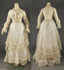 Antique victorian Edwardian ORGANDY embroidered trim flounce lace dress 1860s
