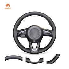 DIY Black Genuine Leather Steering Wheel Cover for Mazda 3 CX-3 CX5 Mazda 6 CX-9