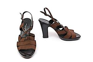 92913d0d38a4 Image is loading DRIES-VAN-NOTEN-Chocolate-Leather-Grosgrain-Platform-X-