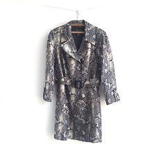 INC Snakeskin Reptile Trench Coat Gray Black Career Rain Jacket Women's Size XL