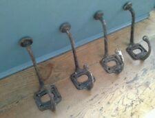 Set of 4 very old Antique Industrial Metal Wall School Coat Hooks Vintage