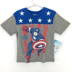 2f5b3f832bd Marvel Short Sleeve Captain America Graphic T-Shirt Boys  Gray Blue ...